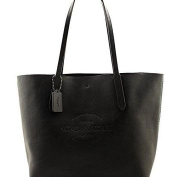 HUDSON TOTE IN NATURAL COACH SMOOTH LEATHER F59403, BLACK