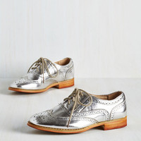 Menswear Inspired Talking Picture Flat in Silver