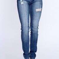 Denim Distressed Low-Rise Skinny Jeans