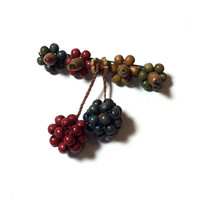 Vintage Haskell Hess Multi-Color Wooden Brooch Pin