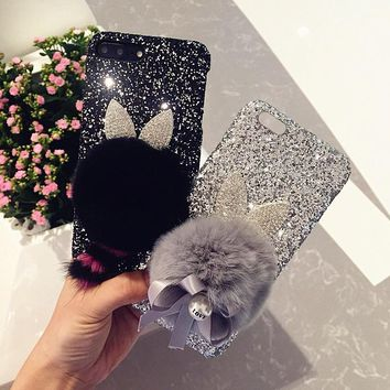 DULCII Phone Case for iPhone 7 8 Plus 3D Cute Plush Ball Cat Ears Glitter Sequins Leather Skin PC Hard Shell for iPhone 7 Plus