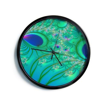 "Alison Coxon ""Fractal Turquoise""  Modern Wall Clock"