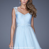 La Femme 20618 - Powder Blue Lace Illusion Prom Dresses Online