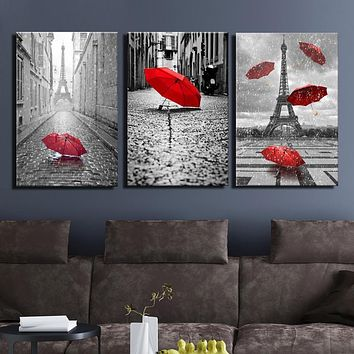 BANMU Art Black and White Eiffel Tower with Red Umbrella on Paris Street Painting Romantic Picture Artwork Prints Canvas