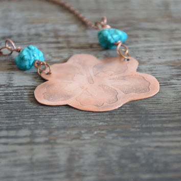 copper flower necklace boho turquoise necklace textured copper jewelry nature necklace copper anniversary gift summer necklace hippie