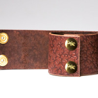 Chestnut Leather Bondage Cuffs - Embossed with Thorns - Brass Horseshoe Rings - Brass Fasteners