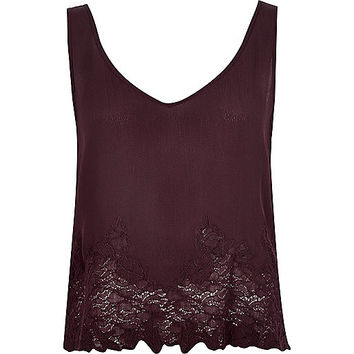 River Island Womens Dark red lace tank top
