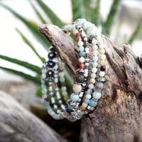 Amazonite Beaded Memory Wire Wrap Bracelet with Silver Bali Style beads, Fresh water pearls, glass crystal