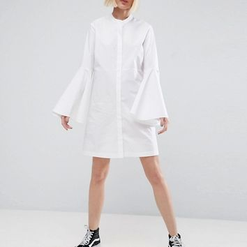 ASOS WHITE Bell Sleeve Mini Shirt Dress at asos.com