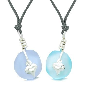 Twisted Twincies Heart Small Sea Glass Lucky Charm Love Couples BFF Set Sky Blue Pastel Purple Necklaces