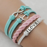 infinity anchor love bracelet with soft ropes women jewelry bracelet bangle friendship gift  B063