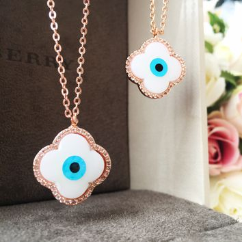 Evil eye necklace, mother of pearl necklace, rose gold plated necklace
