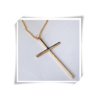 Metal Cross Pendant Necklace with Long chain