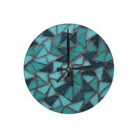 Aqua Mosaic Wall Clock from Zazzle.com