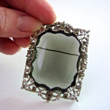 Smoky Gray Glass SARAH COVENTRY Brooch-Pendant, Rhinestones, Ornate Trim, Vintage