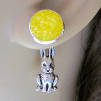 Bunny Earrings Rabbit Earrings Hare Earrings Yellow Stud Druzy Earrings Reverse Front Back Earrings Easter Bunny Rabbit Jewelry Yellow