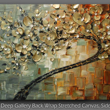 ORIGINAL Large Contemporary Textured Gold Cherry Blossom Tree Painting Modern Palette Knife by Susanna Ready to Hang Gallery Canvas 48x24