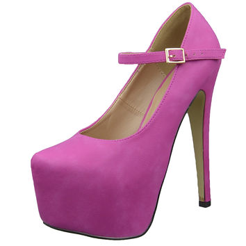 Womens Platform Shoes Ankle Strap Closed Toe Stiletto Pumps Pink SZ