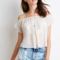 Embroidered Chiffon Off-the-Shoulder Top