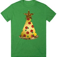 sequin pizza christmas tree top shirt tee t-shirt | T-Shirt | SKREENED