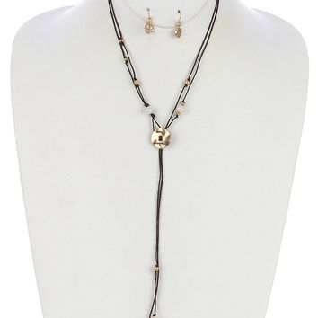 Cream Double Knotted Cord Hammered Metal Message Necklace And Earring Set