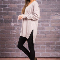 Just Can't Believe It Sweater, Taupe