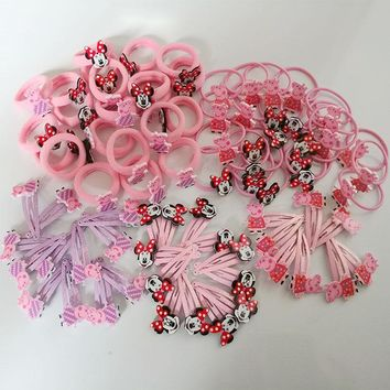 20PC/Set Pink Pig Basic Rubber Band Children Cartoon Set hairpin Kids Elastic Hair Band Girls Hair Clip Pin Hair Accessories