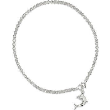 925 Sterling Silver Double Link Rolo Chain with Dolphin Ankle Bracelet