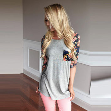 Casual T-Shirts For Women Floral Print Splice Pocket Round Neck Pullover Tops Tee shirt femme camisetas y tops INY66