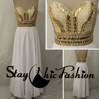 Gold Rhinestones Beaded Top Strapless White Long Chiffon Formal Evneing Prom Dress 2015