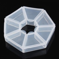 1Pc 7 Grids Clear Empty Nail Decorations Display Container with Cap Manicure Nail Art Storage Case Tool