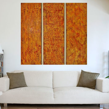 Textured Wood Wall Sculpture - Large Abstract Painting -  Orange Paintings - Acrylic Paintings - Original Paintings - Modern Abstract Art