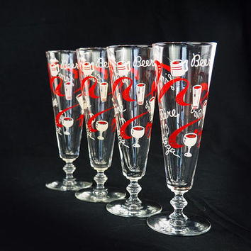 Vintage 50s Libbey International Beer Pilsner Glasses Red And White Mid  Century Barware