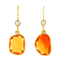 Julius Cohen - 22Kt Gold, Diamond and Fire Opal Earrings - Julius Cohen New York