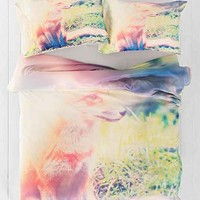 Maybe Sparrow Photography for DENY Sunny Fox Duvet Cover- Green