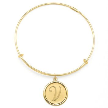 Alex and Ani Precious Initial V Charm Bangle - 14kt Gold Filled