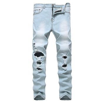 Ripped Holes Slim Strong Character Stretch Jeans [454561726493]