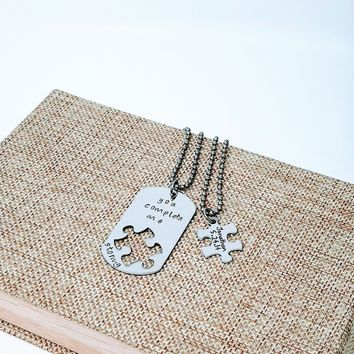 You Complete me, Missing Piece, Boyfriend Gift, Puzzle Piece, Dog Tag Necklace, Husband Gift, Forever