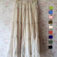 2015 Beige Long Skirt -Elastic Linen Summer Skirt - Women Long Skirts - Boho Skirt - Summer Beach Party- One size to fit all