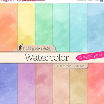 80% OFF SALE WATERCOLOR Digital Paper, Digital Paper Pack for scrapbooking, paper crafts and webpages