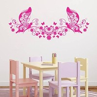 ik1143 Wall Decal Sticker Butterfly Flowers Monogram children's bedroom