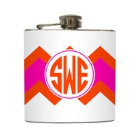 Colorblock Monogram Flask Pink Orange Bridesmaid Gift 21st Birthday Women Bachelorette Party - Stainless Steel 6 oz Liquor Hip Flask LC-1087