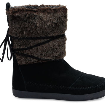 TOMS Nepal Boot Women Black Suede Faux Hair