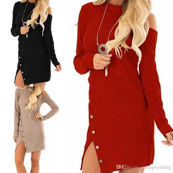 Red Black Autumn Spring Women Casual Dresses Long Sleeves Buttons Front Mini Short Party Dress Cheap On Sale FS5338