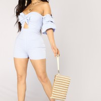 Deep Sea Stripe Romper - Light Blue/White
