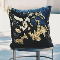 Black & Glam Gold Sequin Mermaid Pillow