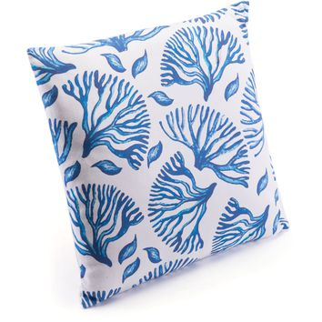 Blue & White Coral Pillow