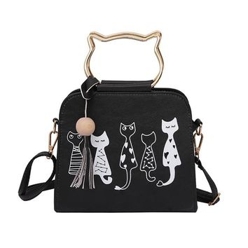 Hanup 2017 new Fashion women cat bag handbag ladies hello kitty tassel zipper shoulder bags female messenger crossbody bag totes
