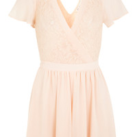 Nude Lace Chiffon Playsuit - Summer Pastels - Clothing