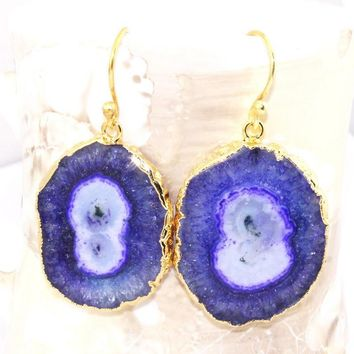 H3604 Winter Sale ! Natural Blue Solar Quartz Druzy Gold Plated Earring Jewelry
